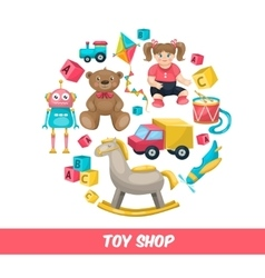 Toy shop round composition vector