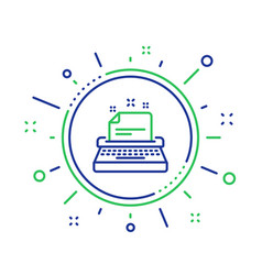 Typewriter line icon documentation sign vector
