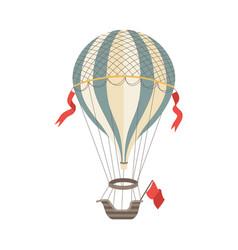 vintage air balloon with gasbag and gondola flat vector image