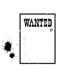 wanted poster for portrait american western vector image