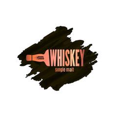 whiskey bottle logo lettering watercolor on white vector image