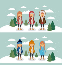 winter people with two scenes of women with coats vector image