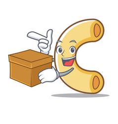 With box macaroni character cartoon style vector