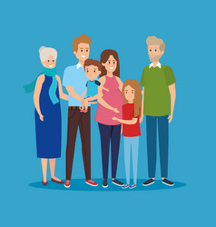 Woman and man with father and mothers with kids vector