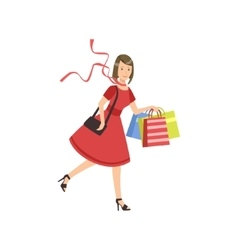 Woman Running For Sale In Shopping Mall vector