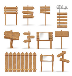 Wooden signages and direction signs icons vector