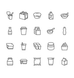 Yogurt packaging flat line icons dairy products vector