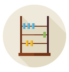 Flat Math Counter Abacus Circle Icon with Long vector image vector image