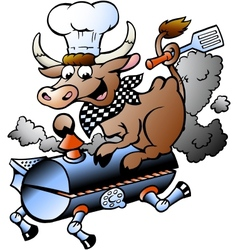 Hand-drawn of an chef cow riding a bbq barrel vector