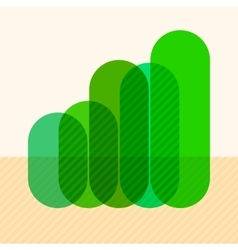 Infographics with rising green overlapping bars vector image