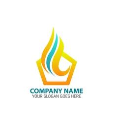 Pentagonal flame logo icon template vector