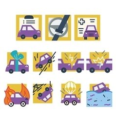 Simple colored icons for car insurance vector