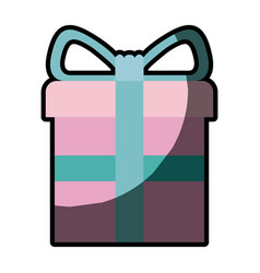 colorful gift box with decorative ribbon in cross vector image vector image