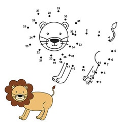 Connect the dots to draw the cute lion and color i vector image