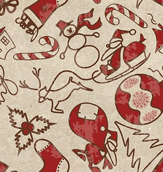 Seamless pattern with symbols of Christmas vector image