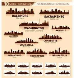 Skyline city set 10 cities of USA 3 vector image