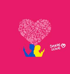Social media young couple internet love design vector