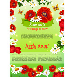 Floral holiday poster of summer flowers bouquet vector