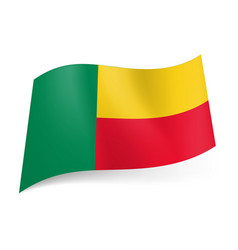 national flag of benin green vertical yellow and vector image vector image