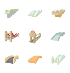 Types of bridges icons set cartoon style vector image vector image
