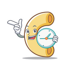 With clock macaroni character cartoon style vector