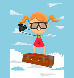 Cute little girl flying on suitcase vector