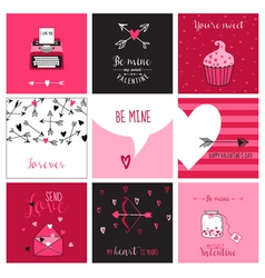 Cute Valentines Day and Love Set - Set of Cards vector image vector image