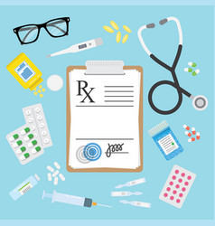 empty medical prescription rx form and pills vector image vector image