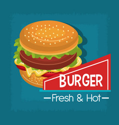 fast food burger design isolated vector image vector image