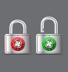 metal rectangular padlock with open and closed vector image