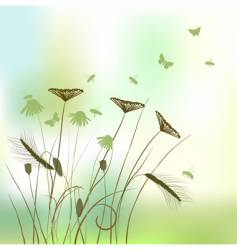 real grass silhouette summer background vector image vector image