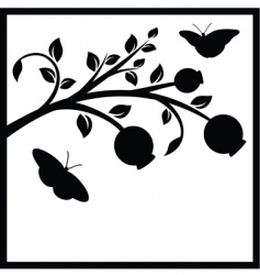 tree branch and butterflies vector image