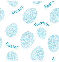 white and blue seamless pattern with easter eggs vector image vector image
