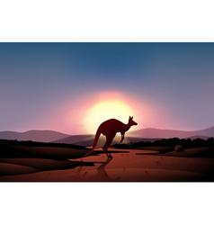 A sunset at the desert with kangaroo vector