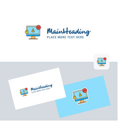 avatar on monitor logotype with business card vector image