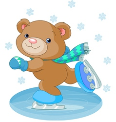 bear on ice skates vector image