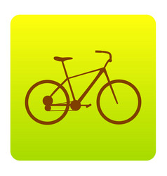 bicycle bike sign brown icon at green vector image