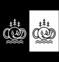 Black and white elephant head with pine trees vector