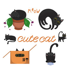 Black kittens with yellow eyes in various poses vector