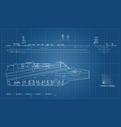 Blueprint of aircraft carrier military ship vector