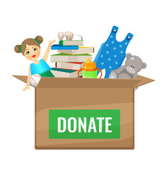 Box with toys and books to donate for children vector
