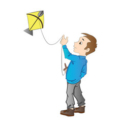 boy flying a kite vector image