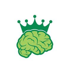brain king abstract green logo icon vector image
