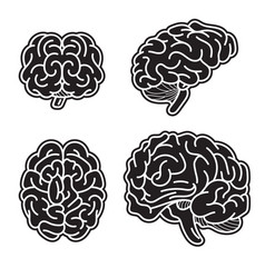 brain mind icon set simple style vector image