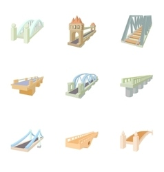 Bridge transition icons set cartoon style vector image