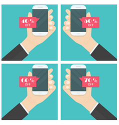 businessman hand and smart phone icon with vector image