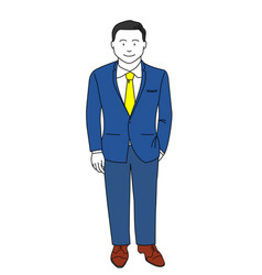 businessman wearing blue suit and smart standing vector image