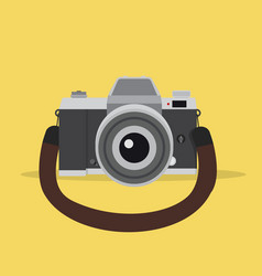camera in a flat style with strap vector image