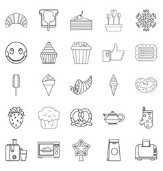 candy shop icons set outline style vector image