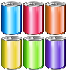 Cans in six different colors vector image